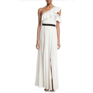NWT Self-Portrait One Shoulder Pleated Maxi Dress